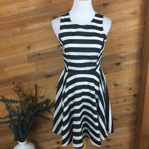 Dee Elle Black White Stripe Mini Skater Dress